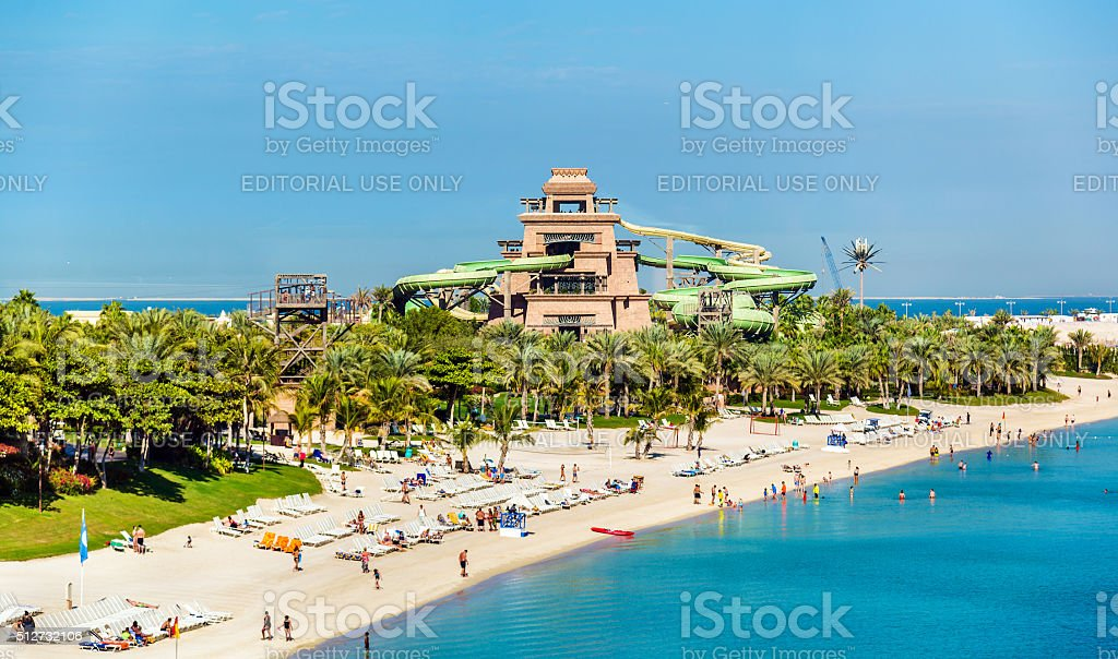 View of Aquaventure Waterpark on Palm Jumeira island, Dubai stock photo