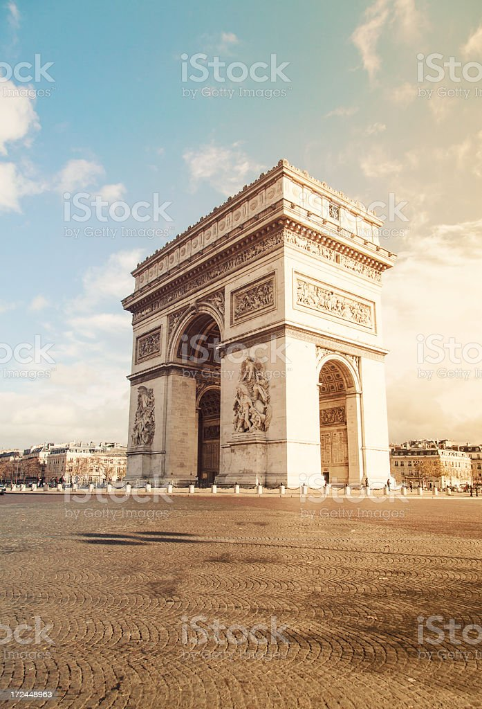 View of Arc de Triomphe from across the street stock photo