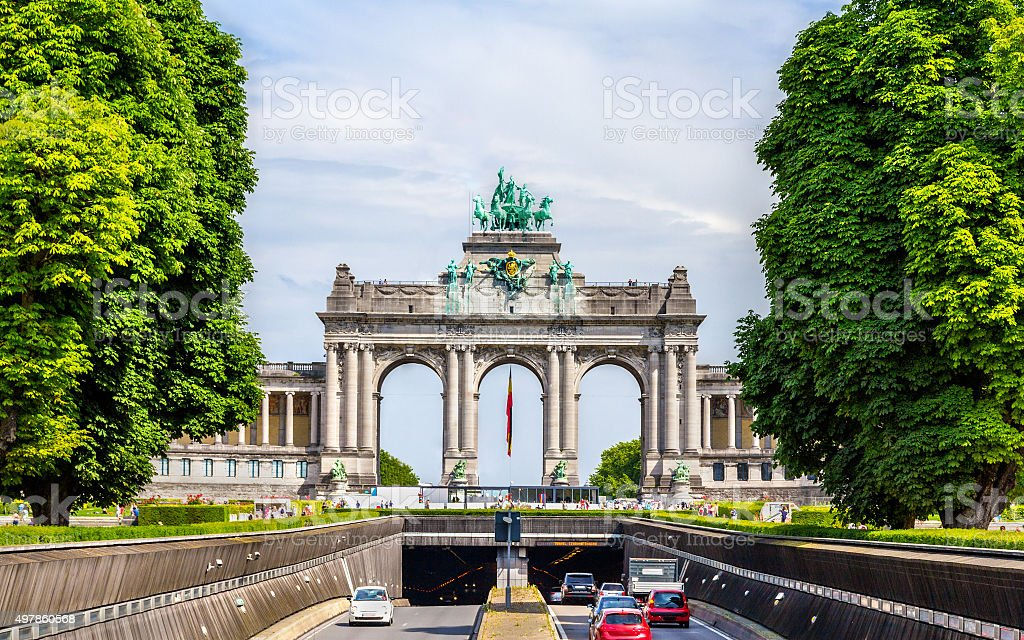 View of Arcade and Tunnel of Cinquantenaire - Brussels stock photo