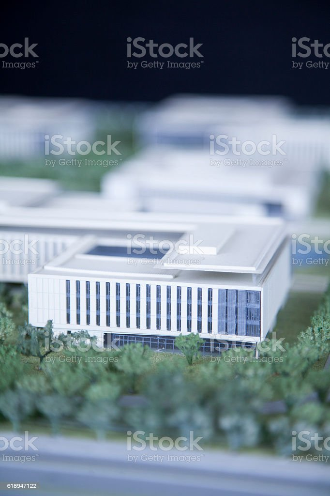 View of architecture model rendering stock photo