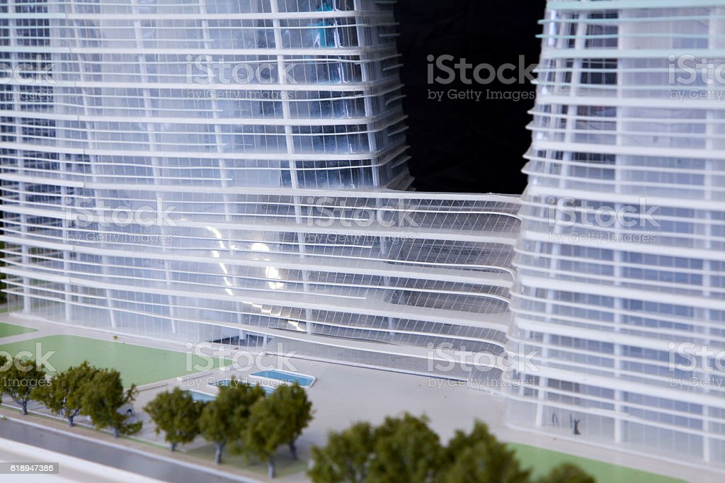 View of architecture model rendering vector art illustration