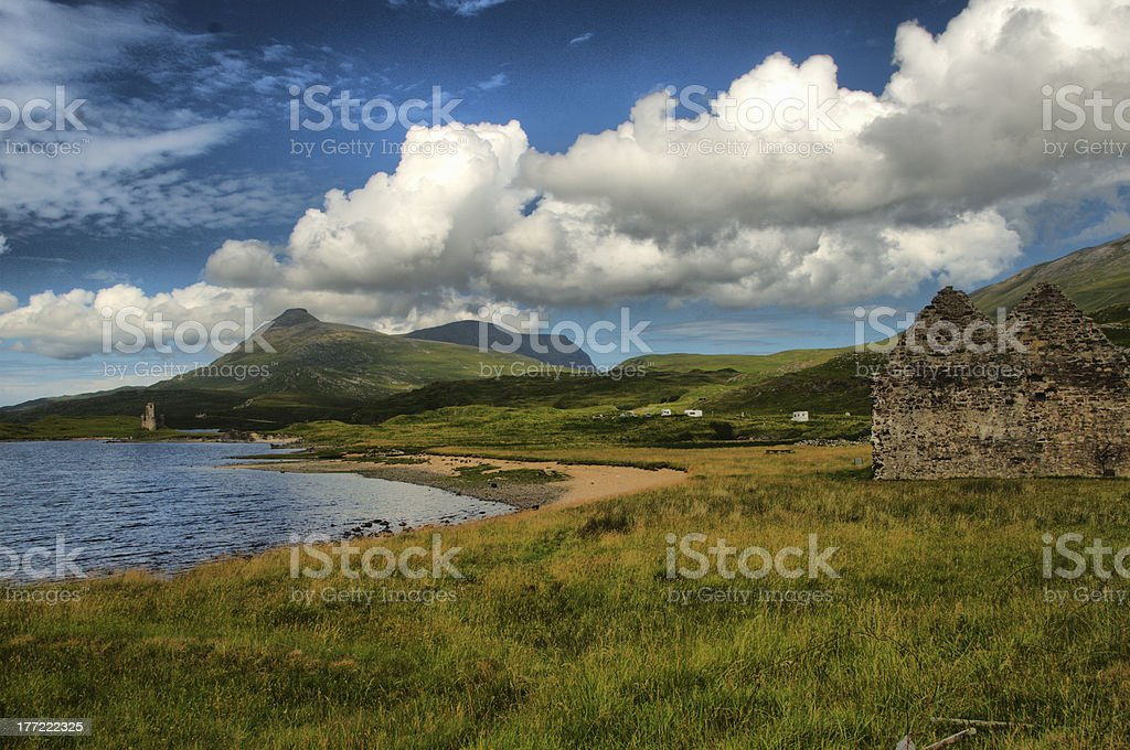 View of Ardvreck Castle, stock photo