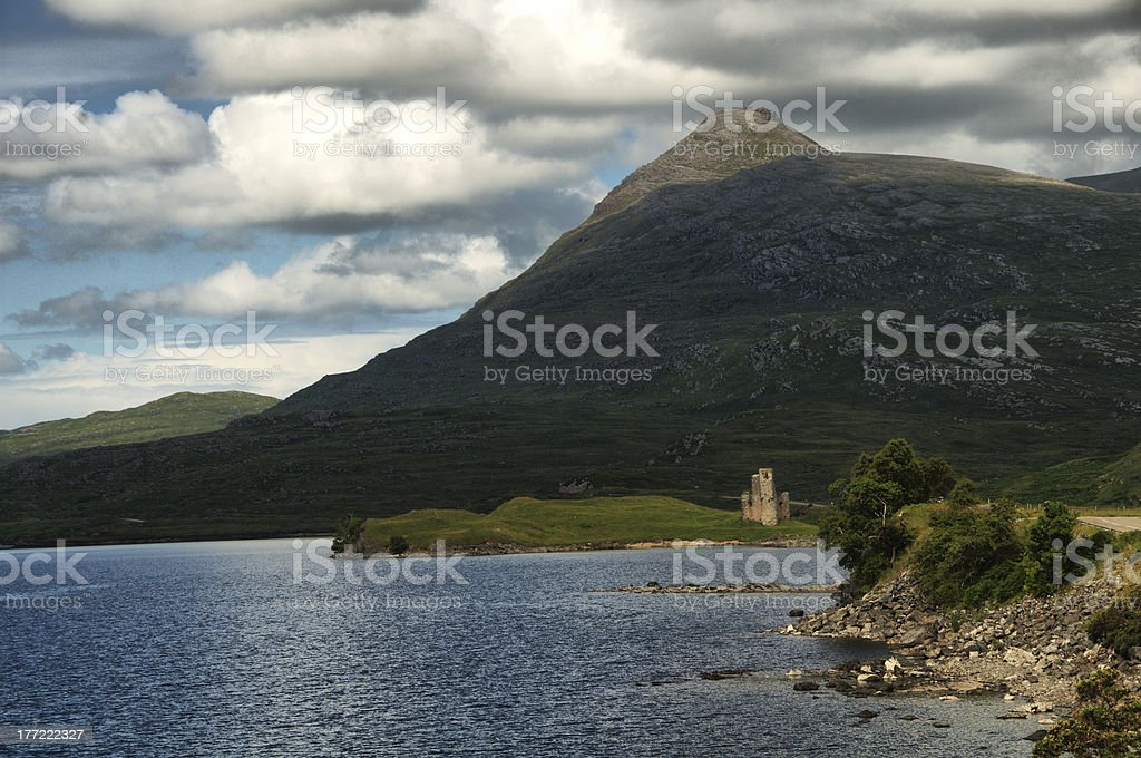View of Ardvreck Castle, royalty-free stock photo