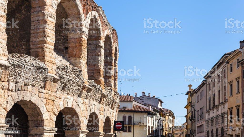view of Arena di Verona ancient Roman Amphitheatre stock photo