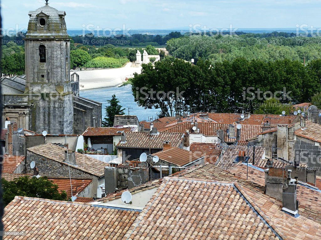 View of Arles from the amphitheater stock photo