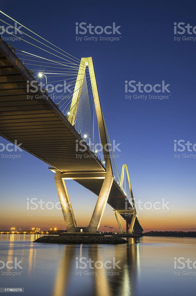 View of Arthur Ravenel Jr. Bridge in Charleston SC stock photo
