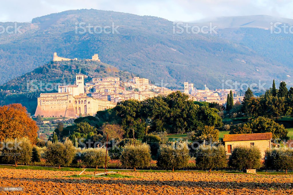 view of Assisi stock photo