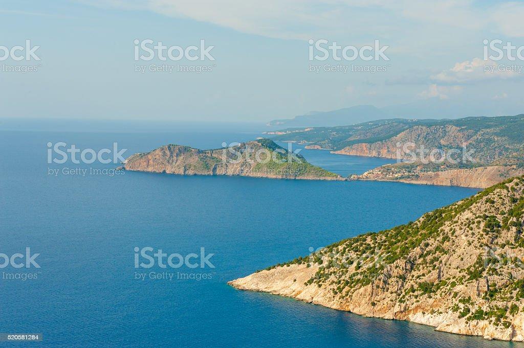 View of Assos town on Kefalonia stock photo