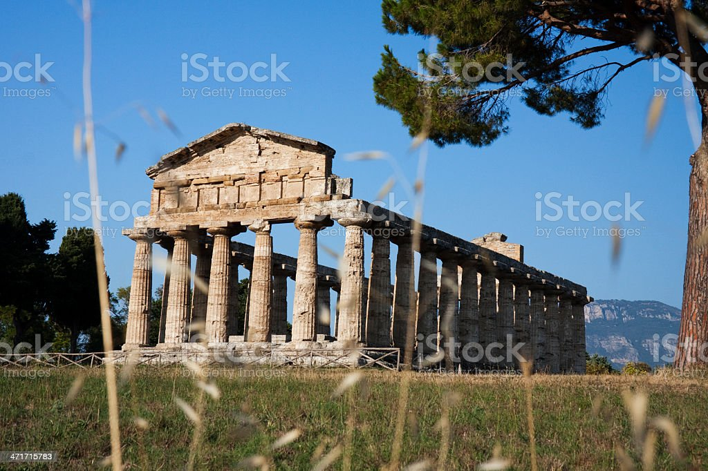 View of Athena temple with tree and mountains stock photo