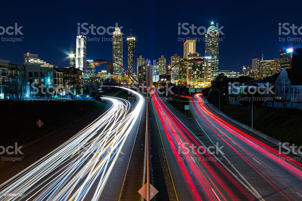 View of Atlanta from Jackson Street Bridge stock photo