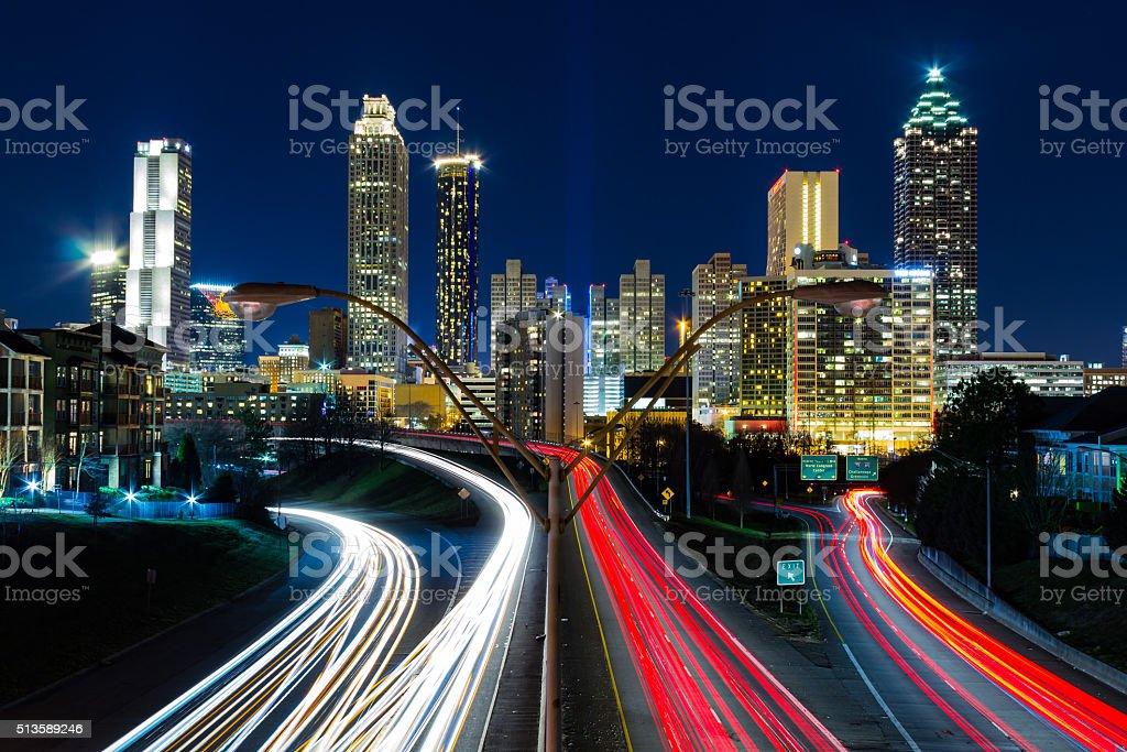 View of Atlanta from Jackson Street Bridge stock photo