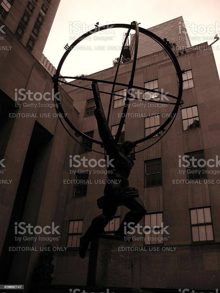 View of Atlas on Rockefeller Center stock photo