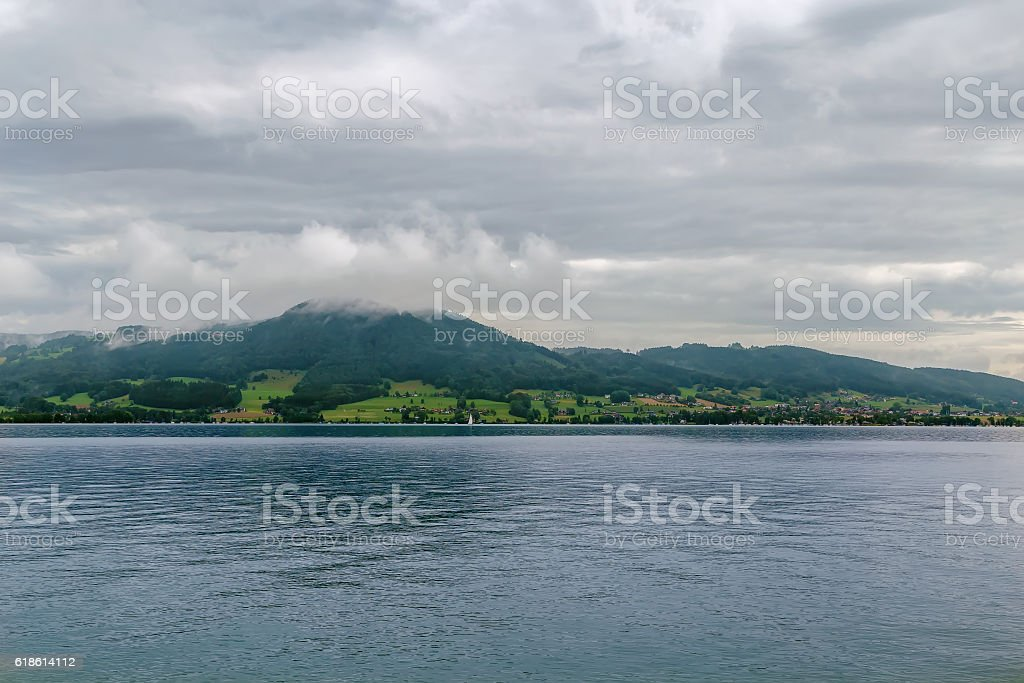 view of Attersee, Austria stock photo