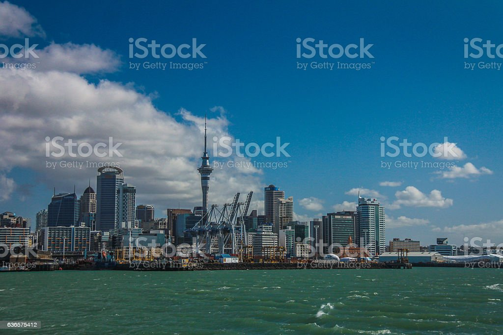 View of Auckland skyline in New Zealand stock photo