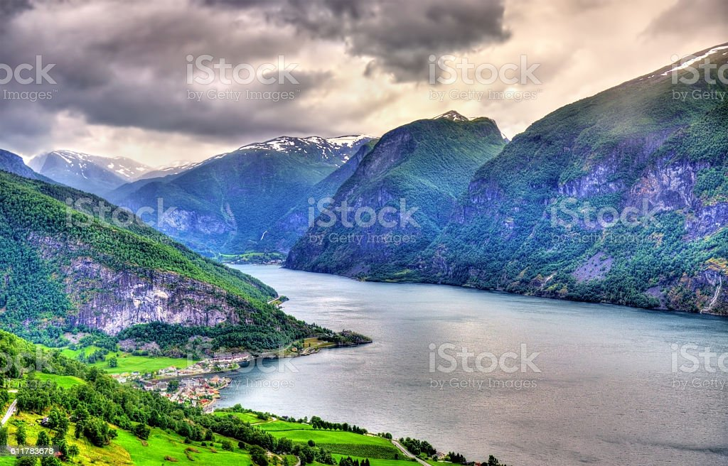 View of Aurlandsfjord from Stegastein viewpoint - Norway stock photo