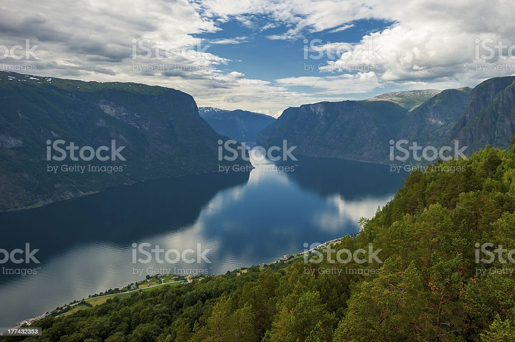View of Aurlandsfjord, Norway royalty-free stock photo