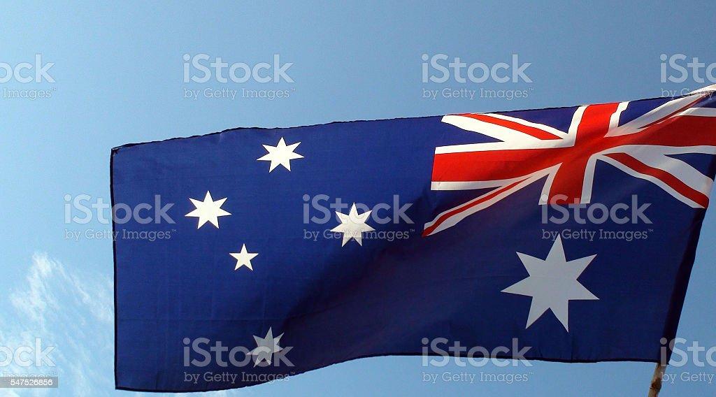 View Of Australian Flag Waving stock photo