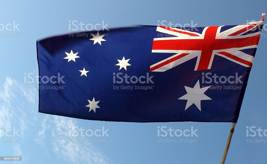 View Of Australian Flag With Clipping Path stock photo
