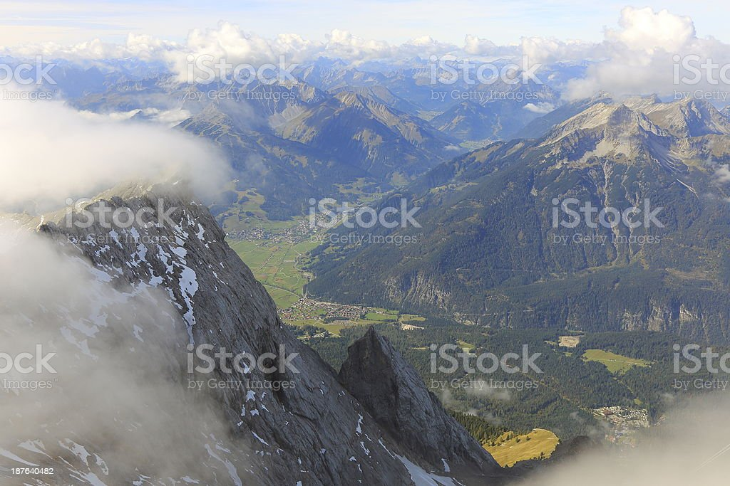 View of Austrian side from Zugspitze Mountain stock photo