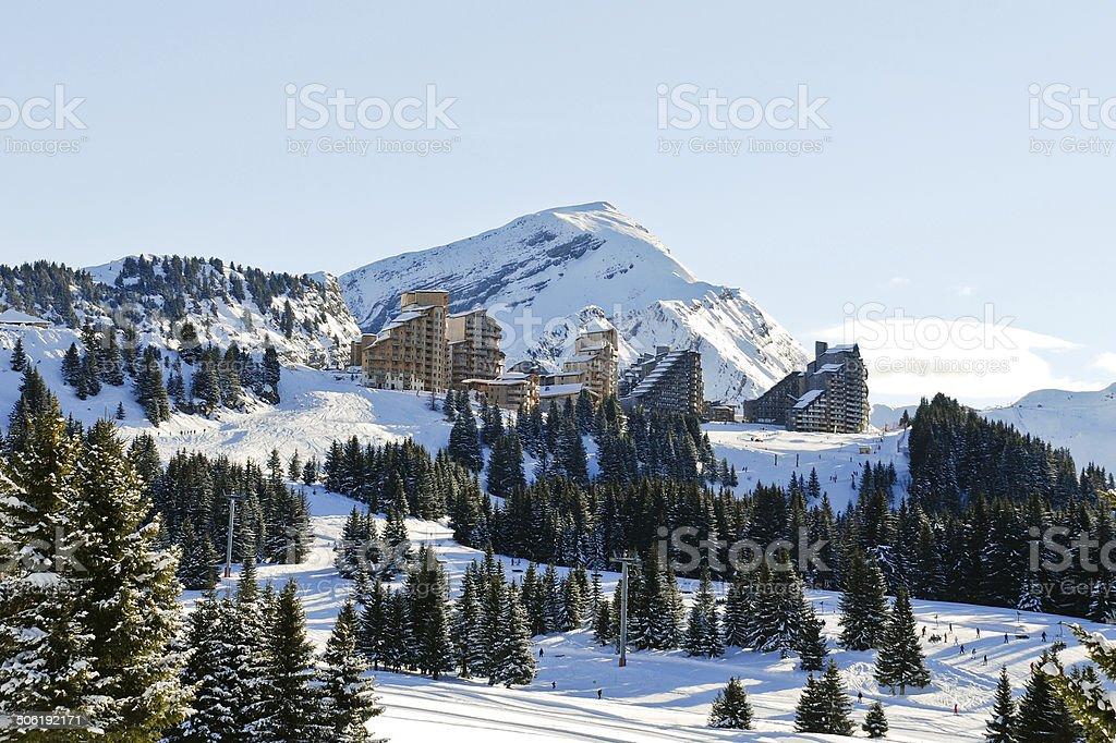 view of Avoriaz mountain town in Alps stock photo