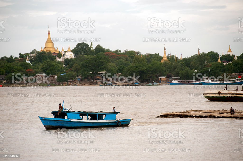View of Ayeyarwady river and Sagaing hill in background,Myanmar. stock photo