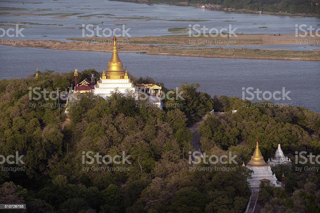 View of Ayeyarwady river from Sagaing hill,Myanmar. stock photo