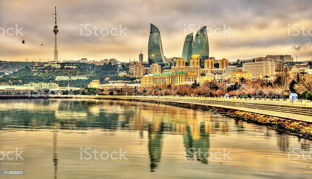 View of Baku by the Caspian Sea stock photo