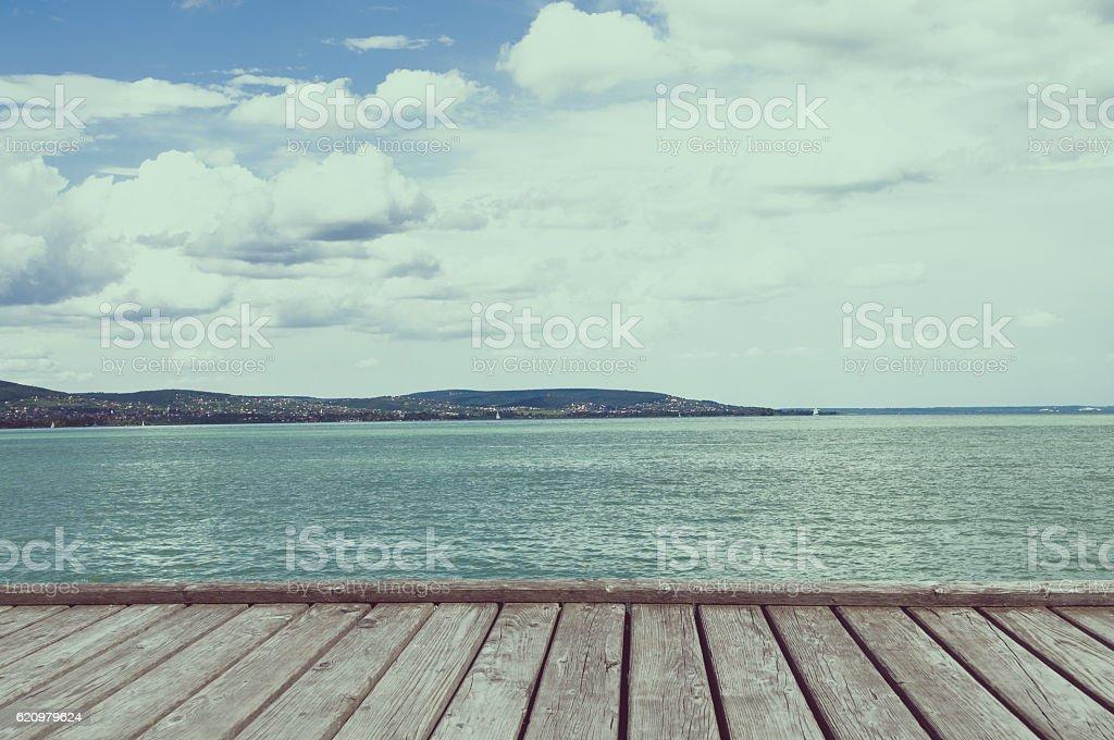 View of Balaton lake from Tihany abbey - Hungary stock photo