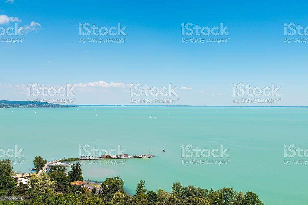 View of Balaton lake, Hungary, Tihany stock photo