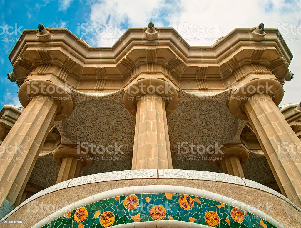 view of balcony with columns and mosaic decoration from below stock photo