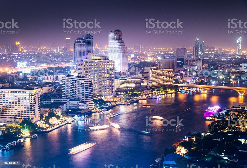 View of Bangkok city scape at nighttime stock photo