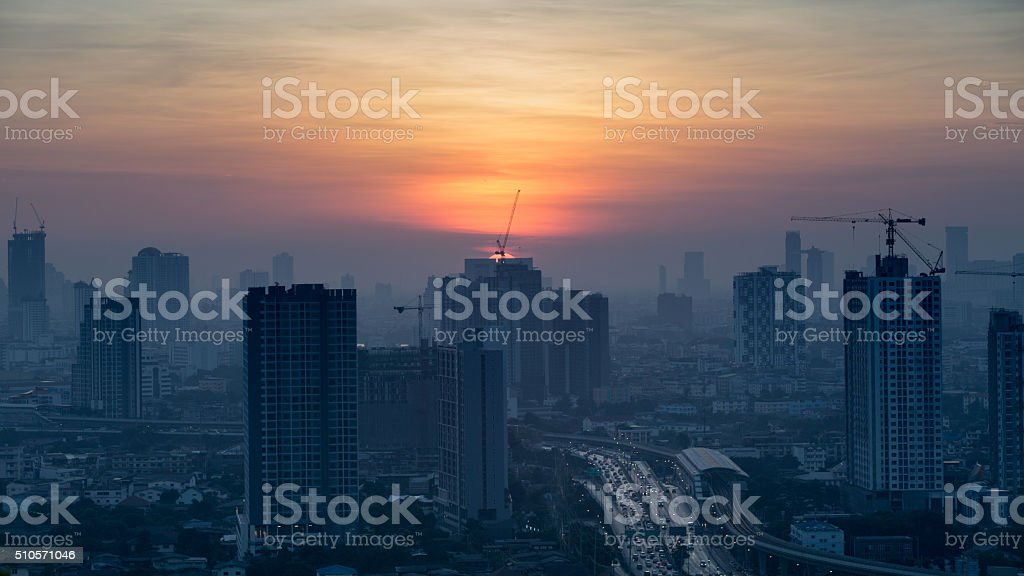 view of Bangkok skyline at sunrise. stock photo