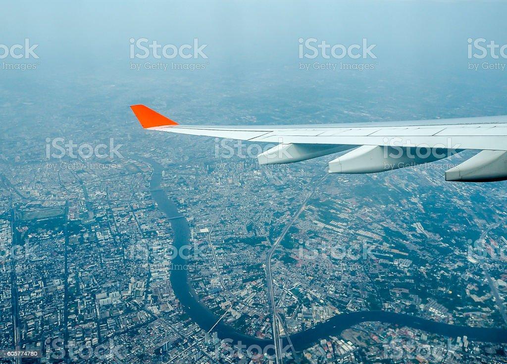 View of Bangkok, Thailand, and the aircraft wing stock photo