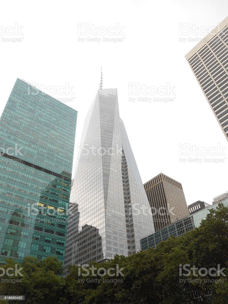 View of Bank of America and Other Buildings from Bryant Park. stock photo