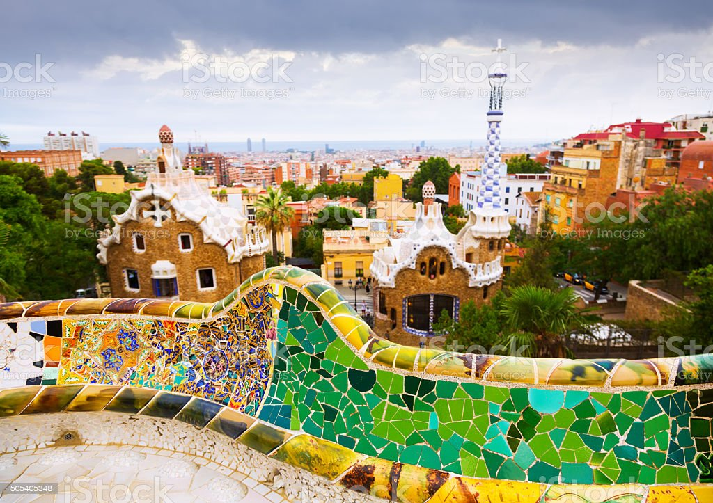 view of Barcelona from Park Guell stock photo