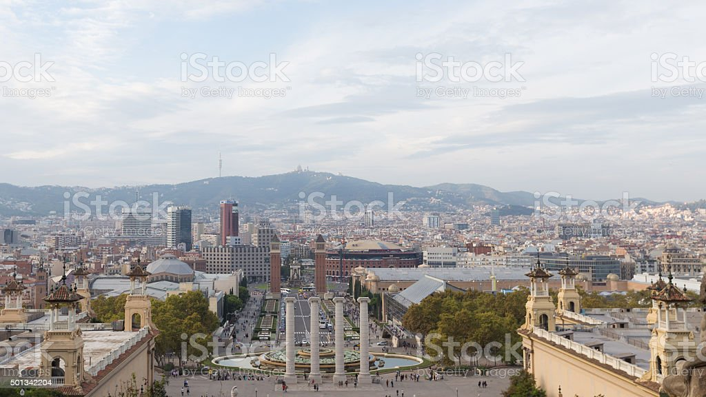 View of Barcelona from the top stock photo