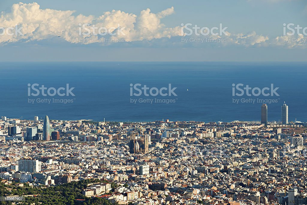 View of barcelona from Tibidano, Spain. stock photo