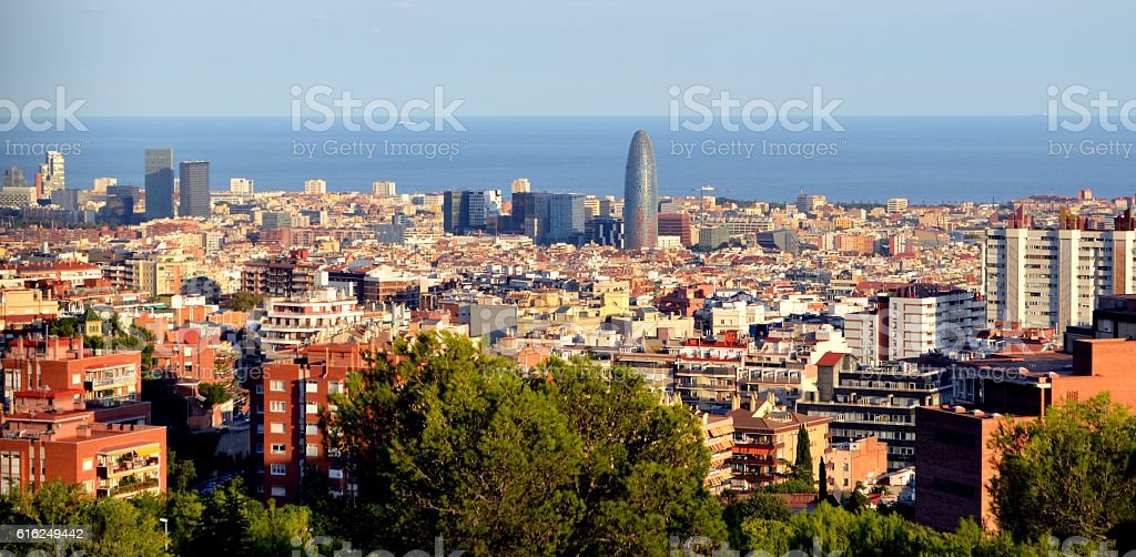 View of Barcelona on a sunny day. stock photo