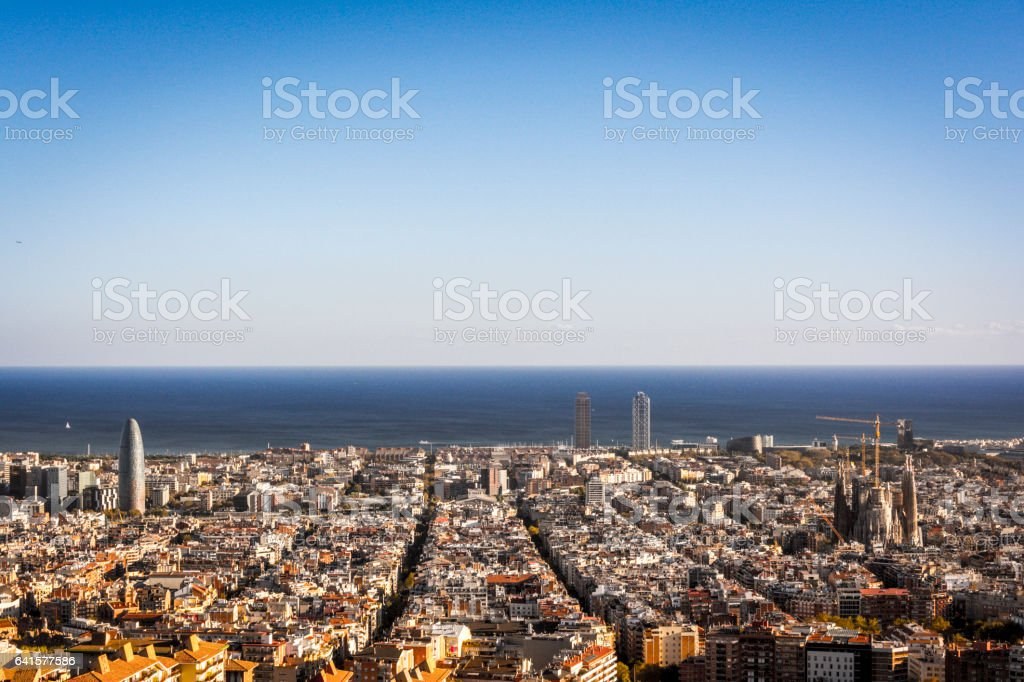 View of Barcelona, tower Agbar, the twin towers and The Sagrada Familia Basilica stock photo