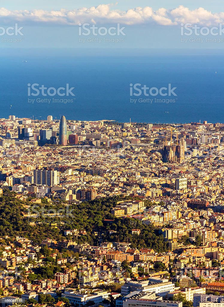 View of Barcelona with Sagrada Familia and Torre Agbar stock photo