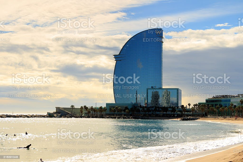 View of Barceloneta Beach and W hotel in Barcelona, Spain stock photo