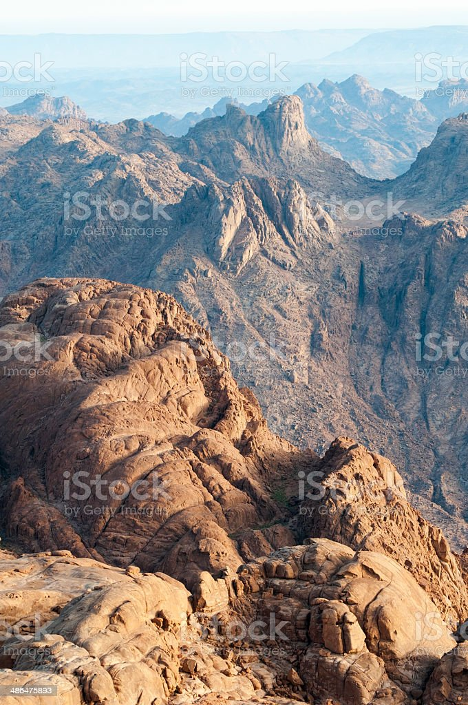 View of barren landscape from Mount Sinai stock photo
