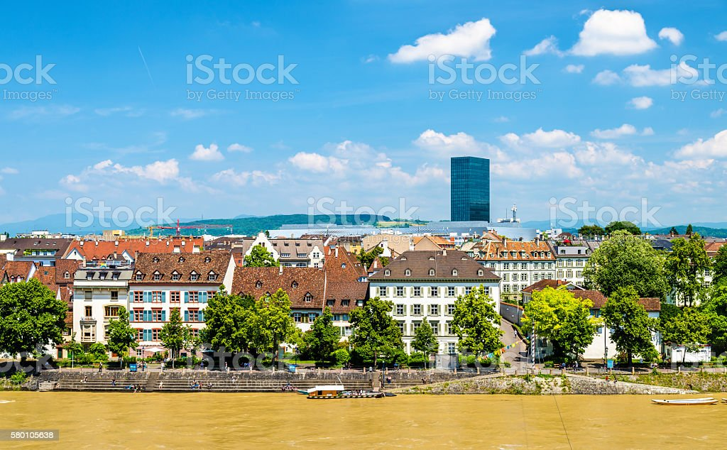View of Basel city with the Rhine stock photo