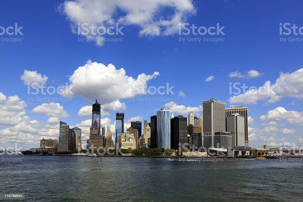 View of Battery Park and Lower Manhattan royalty-free stock photo