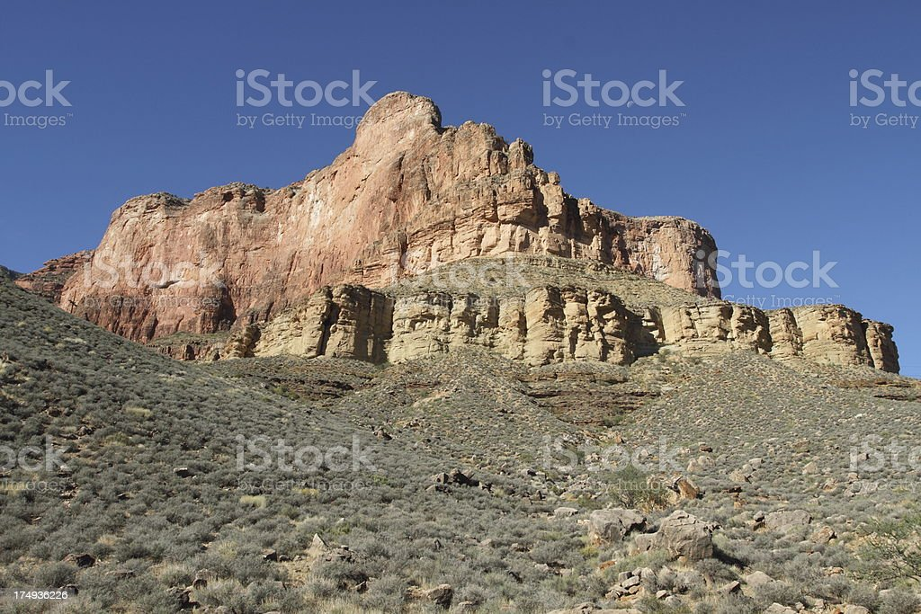 View of Battleship Butte in Grand Canyon stock photo