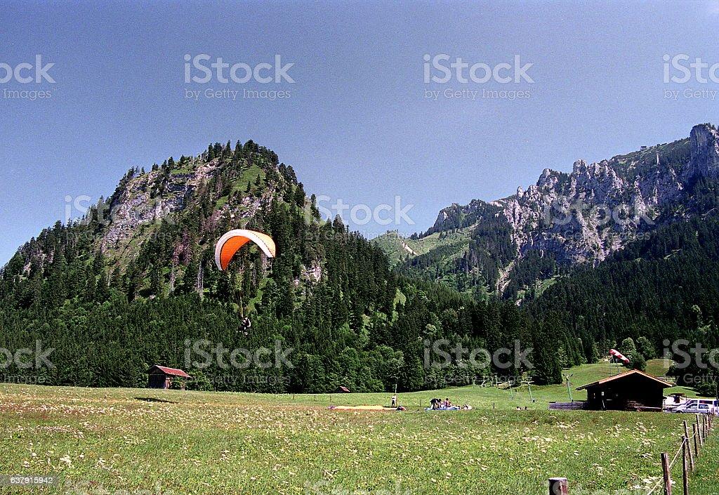 View of Bavarian Alps near Neuschwanstein Castle in Bavaria, Germany stock photo