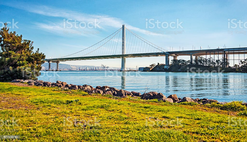 View of Bay Bridge and Oakland Shipyard stock photo