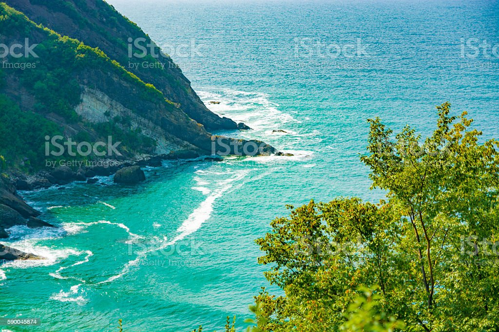 View of bay from Blacksea at Bartin town in Turkey stock photo
