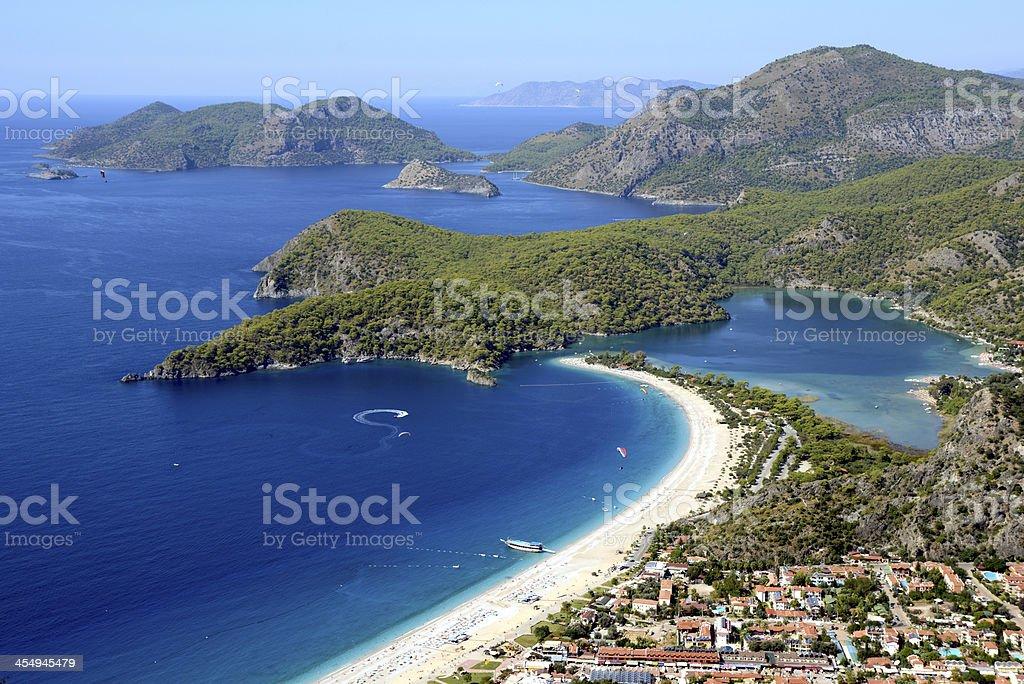 View of bay from the sky Oludeniz, Fethiye, Mugla in Turkey stock photo