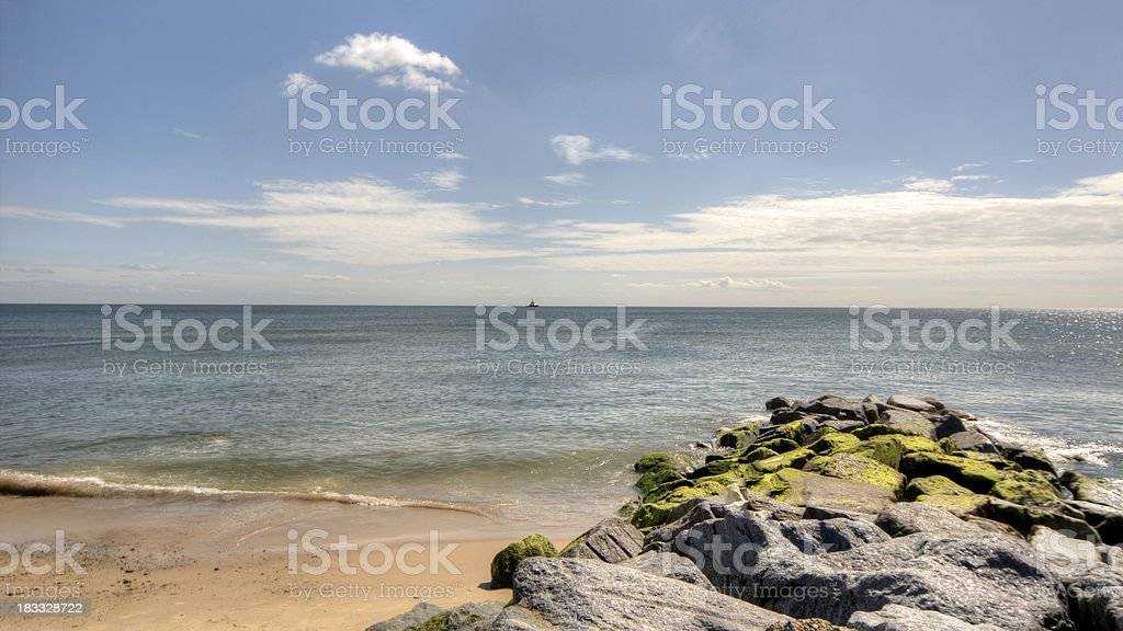 View of beach at Southwold in Suffolk stock photo
